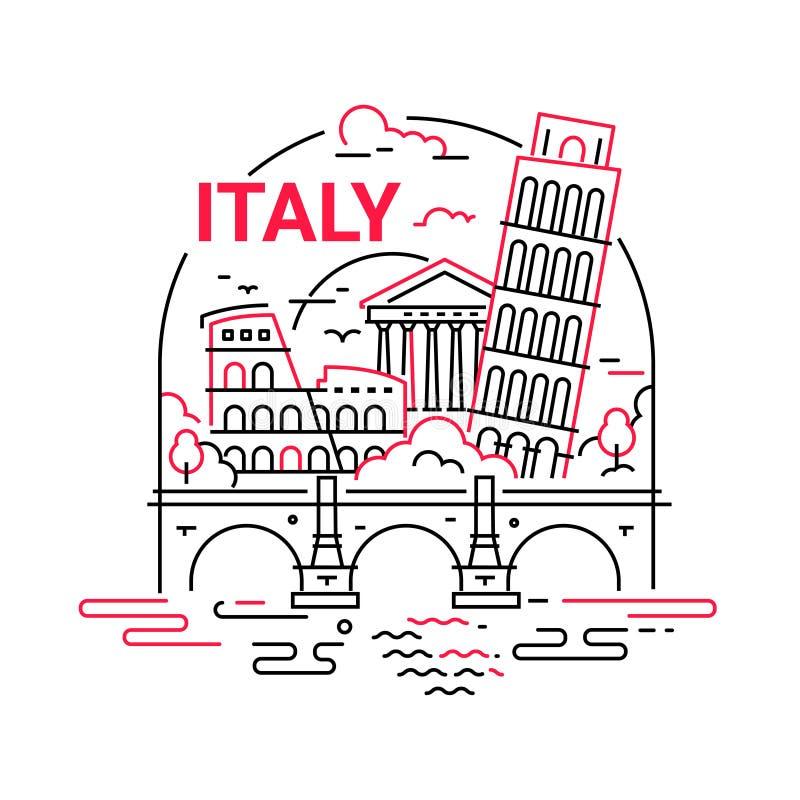 Italia - línea moderna ejemplo del vector del viaje libre illustration