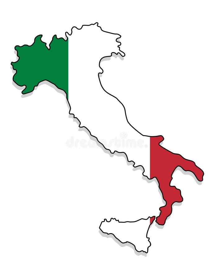 Italia Mapa del ejemplo del vector de Italia stock de ilustración