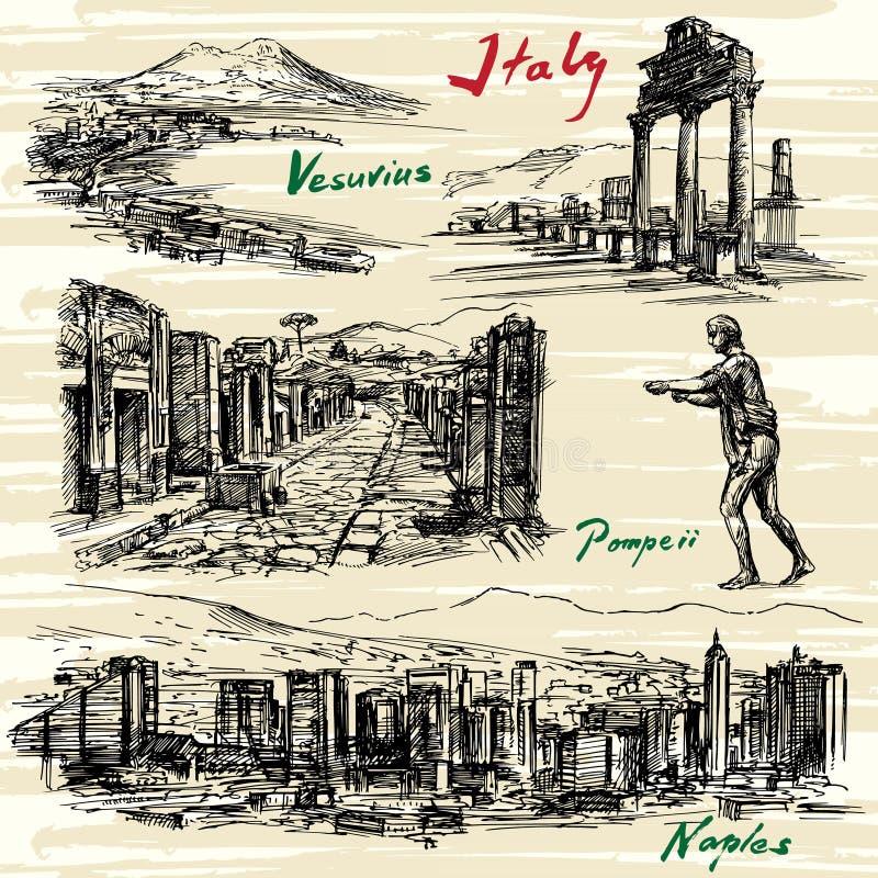 Italia, Nápoles, Pompeya ilustración del vector