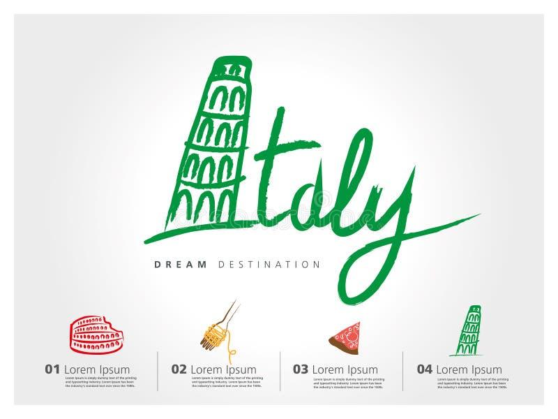 Italia a pulso ilustración del vector