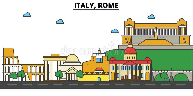 Italia, Roma Arquitectura del horizonte de la ciudad Movimientos Editable libre illustration