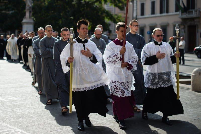 Italia-Roma - 7 de septiembre de 2017 - celebración del peregrinaje de fotografía de archivo libre de regalías