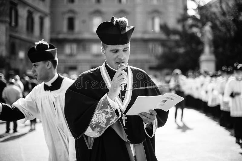Italia-Roma - 7 de septiembre de 2017 - celebración del peregrinaje de imágenes de archivo libres de regalías