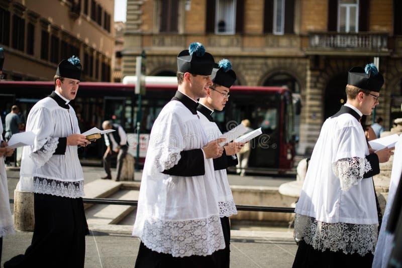 Italia-Roma - 7 de septiembre de 2017 - celebración del peregrinaje de imagen de archivo libre de regalías