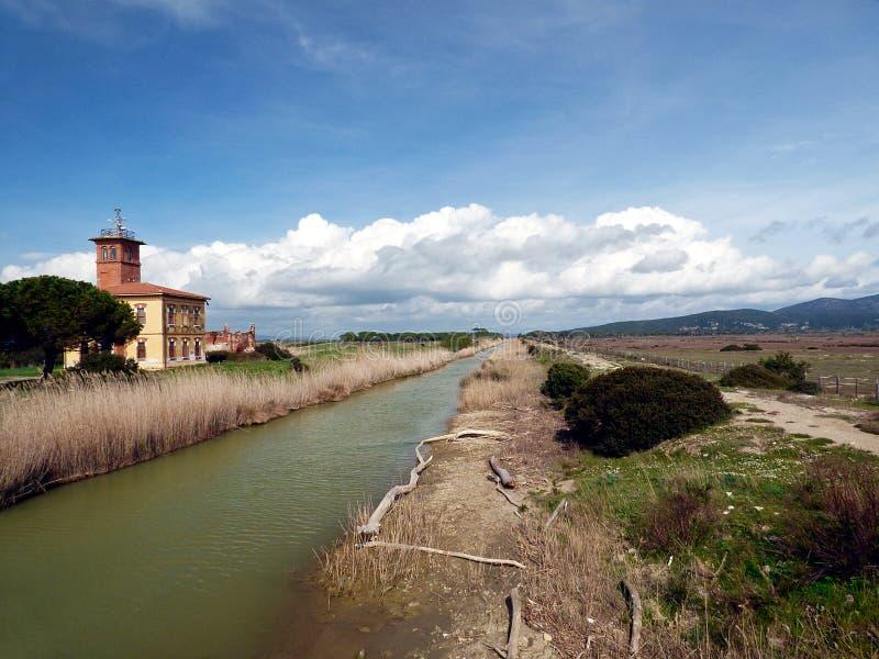 Italia, Toscana, Grosseto, Marina di Alberese, parque natural del Maremma, también llamado parque de Uccellina, vista del nea del imagen de archivo libre de regalías