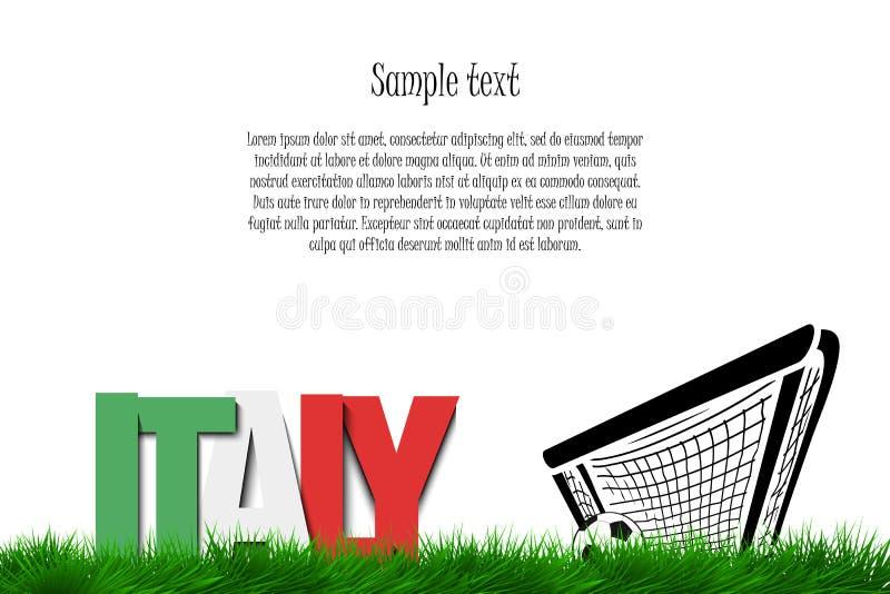 Italia y un balón de fútbol en la puerta stock de ilustración