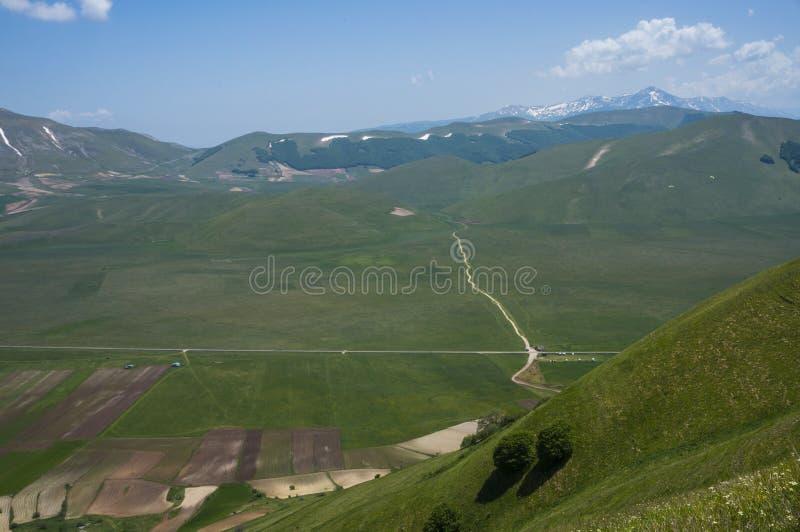 Italiaans bergdorp Castelluccio stock foto
