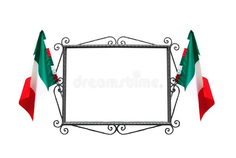 Italiaans frame met vlaggen stock afbeeldingen