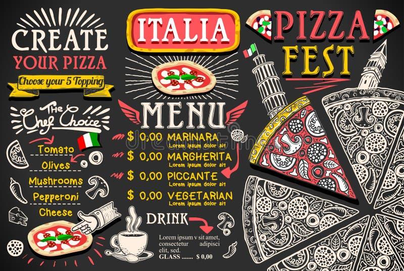 Italiaans het Voedsel Vectorontwerp van het pizzamenu vector illustratie