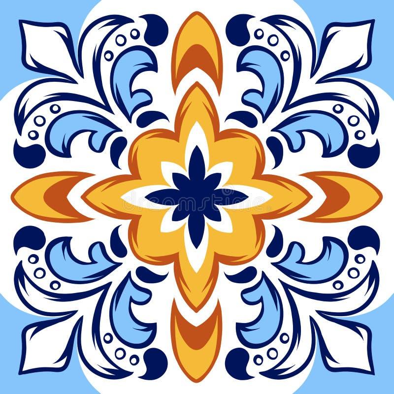 Italiaans keramische tegelpatroon Etnisch volksornament stock illustratie