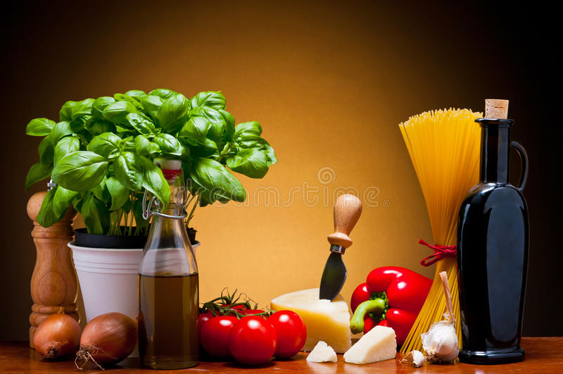 Italiaans keukenvoedsel stock foto's