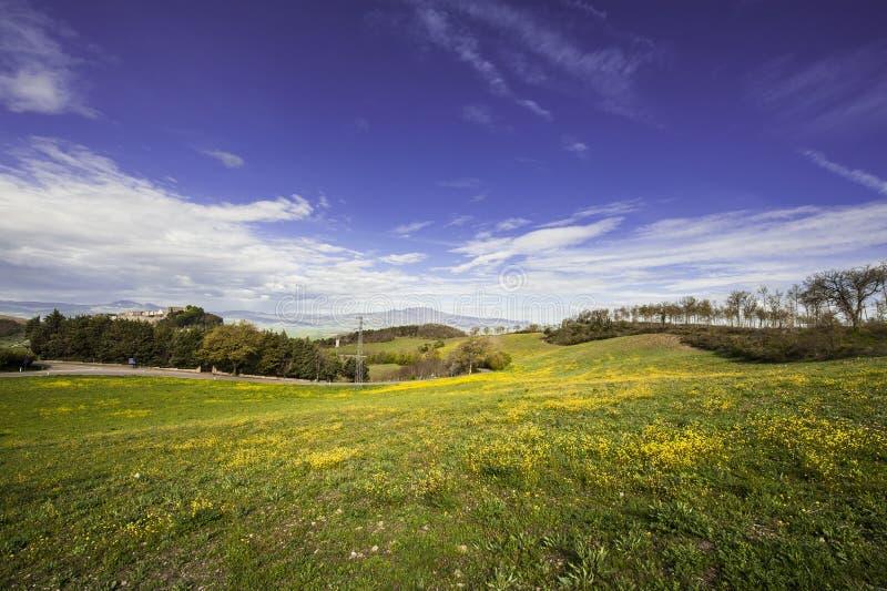 Italiaans landschap met Trevinano royalty-vrije stock foto