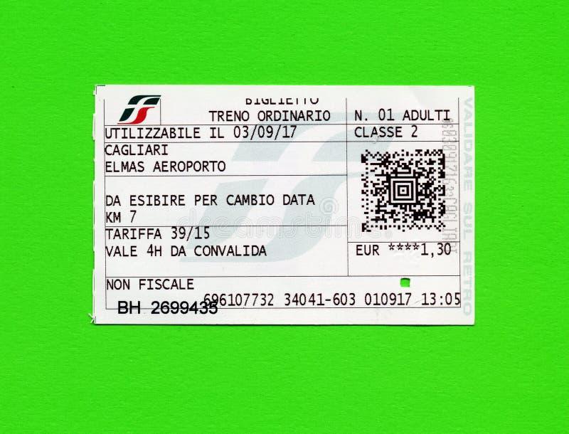 Italiaans treinkaartje voor de luchthaven van Cagliari royalty-vrije stock foto's