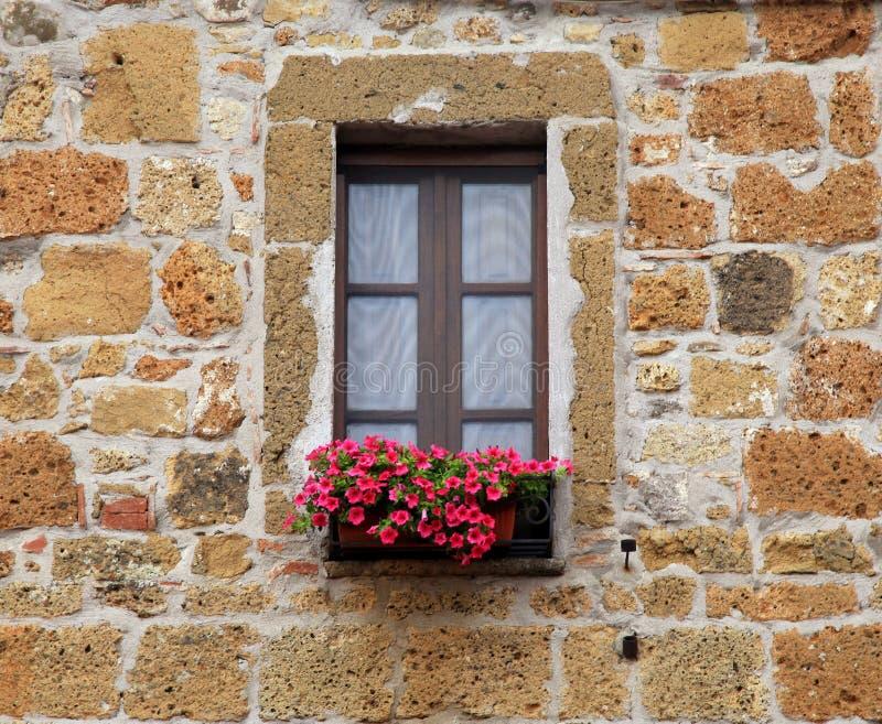 Italiaans venster met aardige bloemen in oud steenhuis, Toscanië, het stock foto