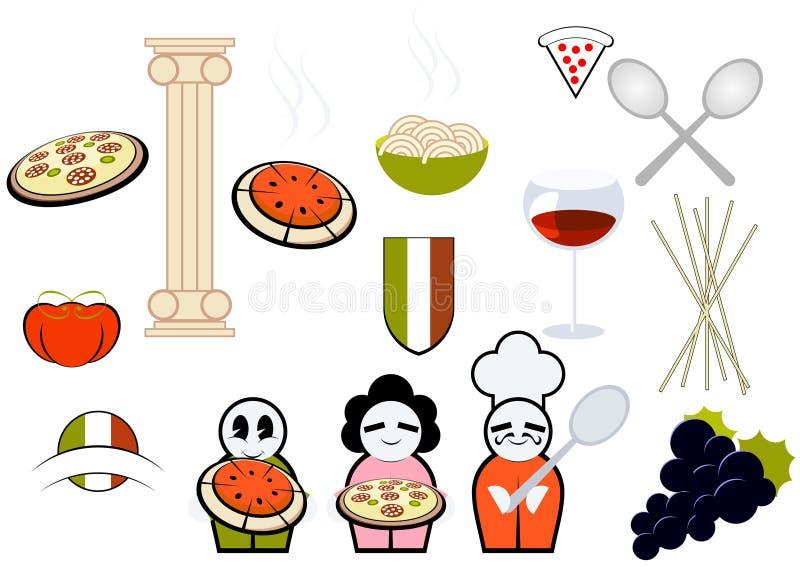 Italiaans voedsel & kokende pictogrammen stock illustratie