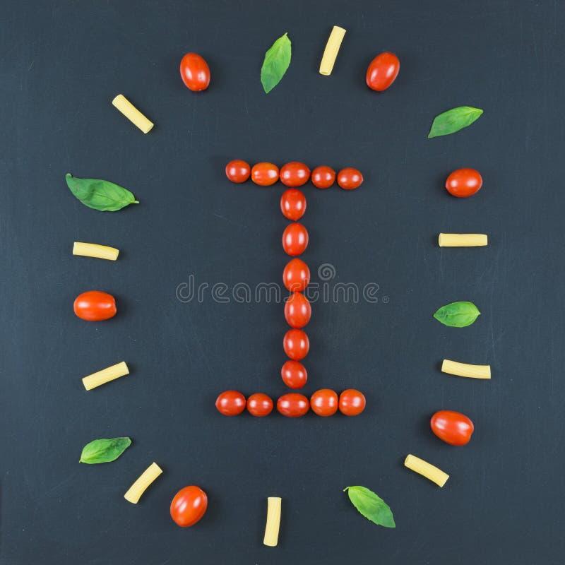Italiaans voedsel die patroon met brief eten stock fotografie