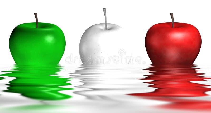 Italiaanse Appelen In Het Water Stock Afbeeldingen