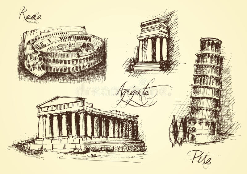 Italiaanse architecturale symbolen royalty-vrije illustratie