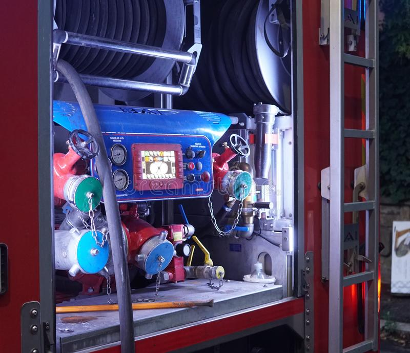 Italiaanse brandweerkorpsvrachtwagen, detail royalty-vrije stock fotografie
