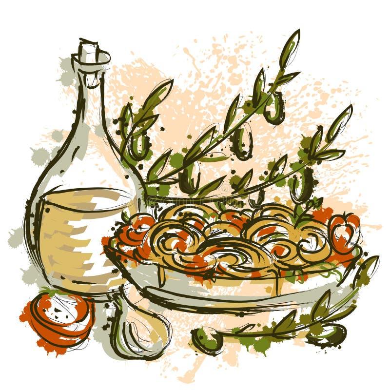 Italiaanse deegwaren met olijfolie, takken, olijven, tomaten en knoflook in waterverfstijl stock illustratie