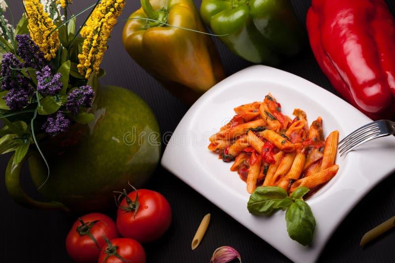 Italiaanse Deegwaren met Peper royalty-vrije stock afbeelding