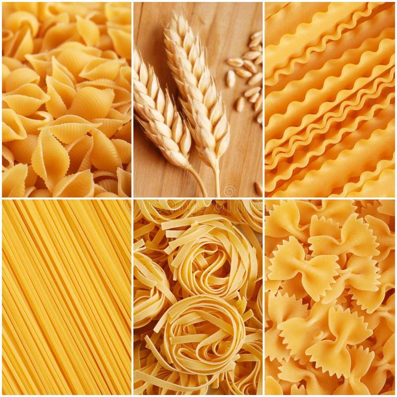 Italiaanse deegwarencollage stock foto's