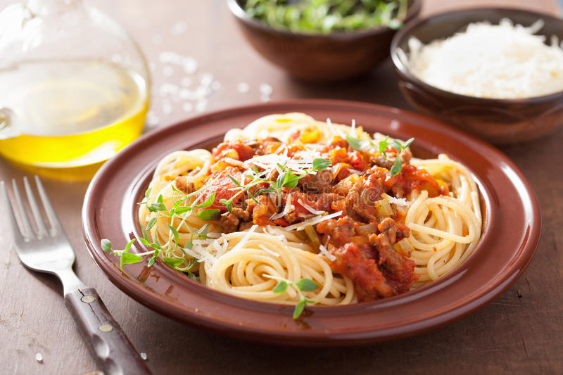 Italiaanse deegwarenspaghetti bolognese royalty-vrije stock fotografie