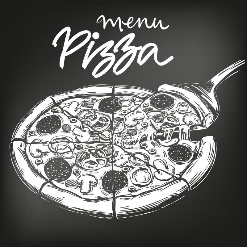 Italiaanse die pizza, in wit krijt op een zwarte achtergrond wordt getrokken, het malplaatje van het Pizzaontwerp, embleem, hand  stock illustratie