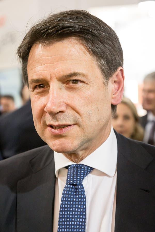 Italiaanse Eerste minister Conte in Tuttofood 2019 in Milaan, Itali? royalty-vrije stock foto