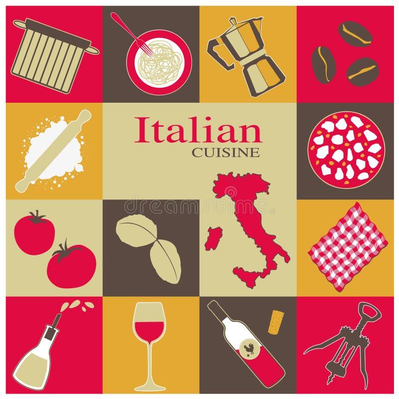 Italiaanse Geplaatste Keukenpictogrammen stock illustratie