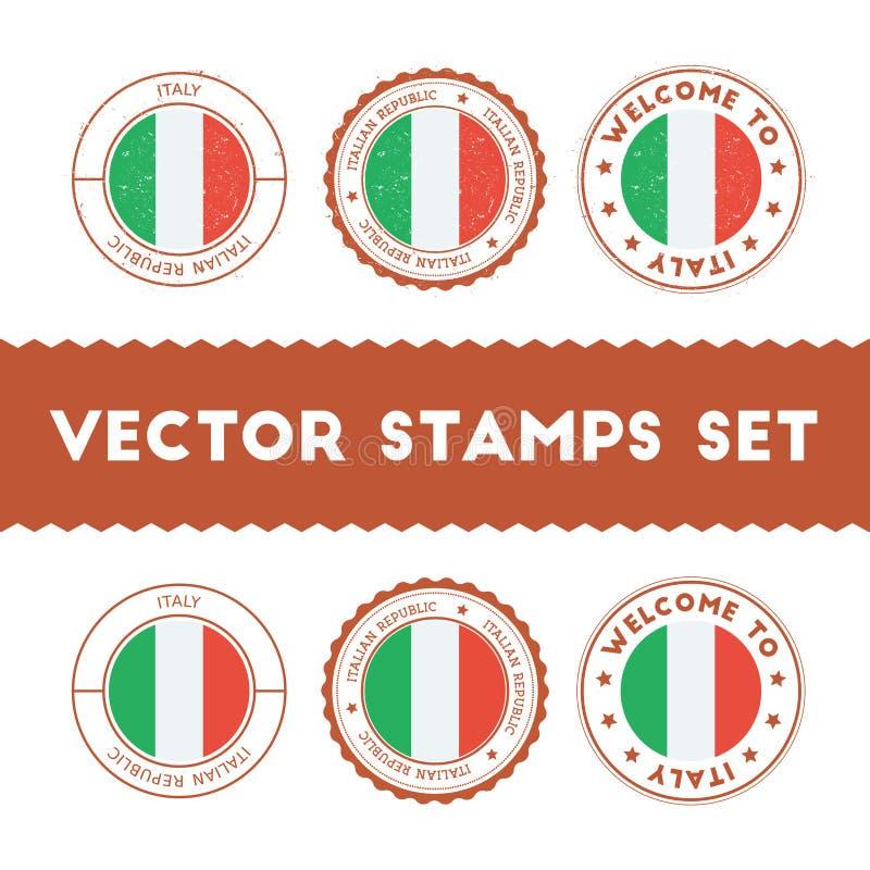 Italiaanse geplaatste vlag rubberzegels stock illustratie