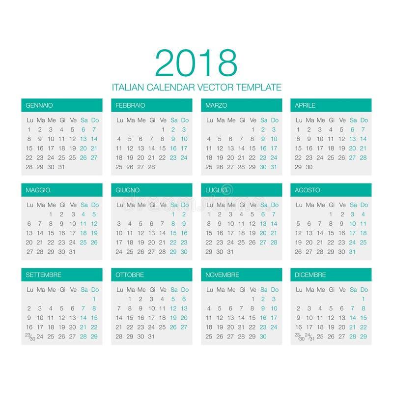 Italiaanse Kalendervector 2018 royalty-vrije stock fotografie