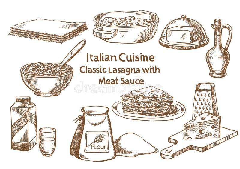 Italiaanse keuken Klassieke lasagna's met vlees sause ingrediënten stock illustratie