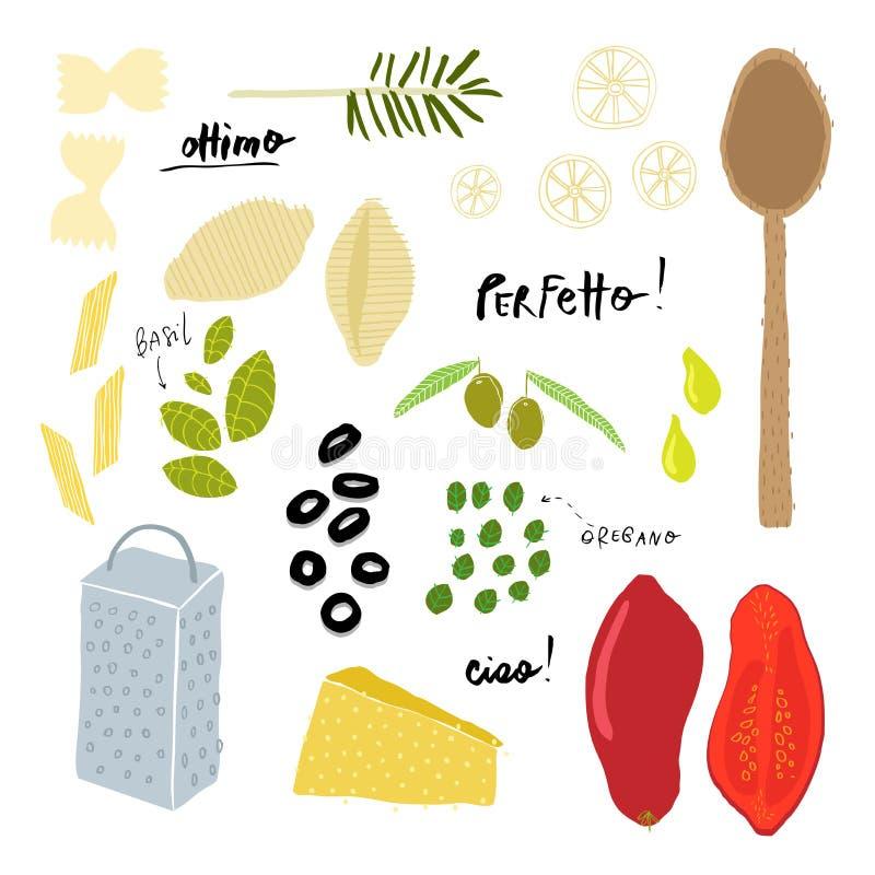 Download Italiaanse Keukeningrediënten Vector Illustratie - Illustratie bestaande uit macaroni, life: 29507587