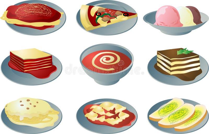 Italiaanse keukenpictogrammen royalty-vrije illustratie