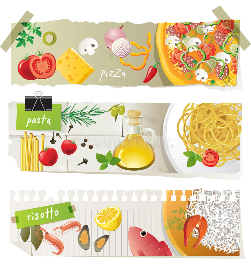 Italiaanse keukenschotels vector illustratie