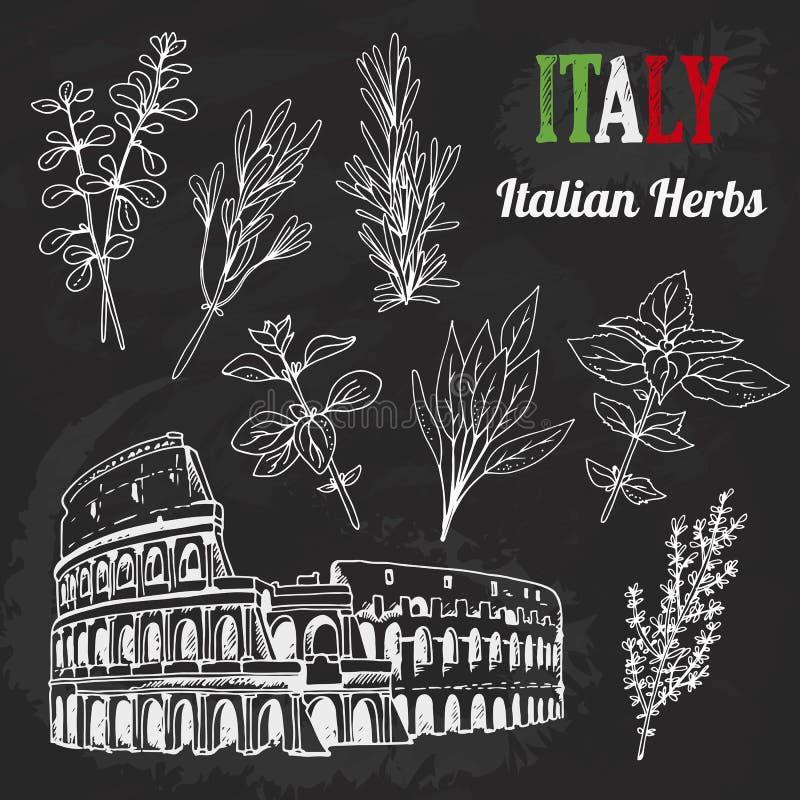 Italiaanse kruiden vectorreeks, hand getrokken inzameling van architectuur, voedsel, het van letters voorzien stock illustratie