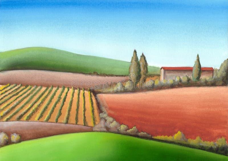 Italiaanse landbouwgrond royalty-vrije illustratie