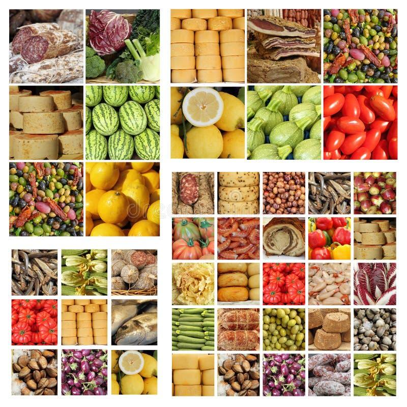Italiaanse langzame voedselcollage stock foto