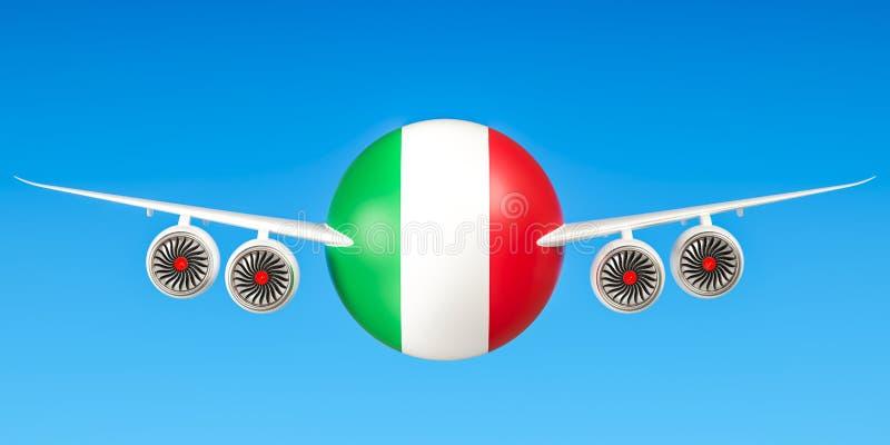 Italiaanse luchtvaartlijnen en flying& x27; s, vluchten aan het concept van Italië 3d trek uit stock illustratie