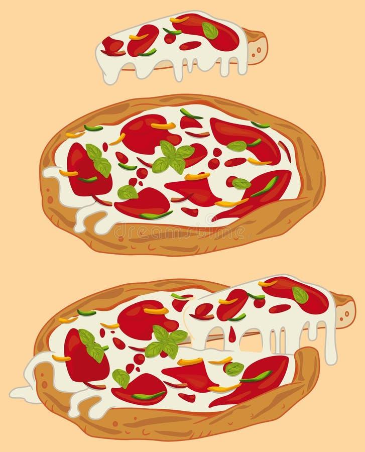 Italiaanse met de hand gemaakte pizza 1 stock illustratie