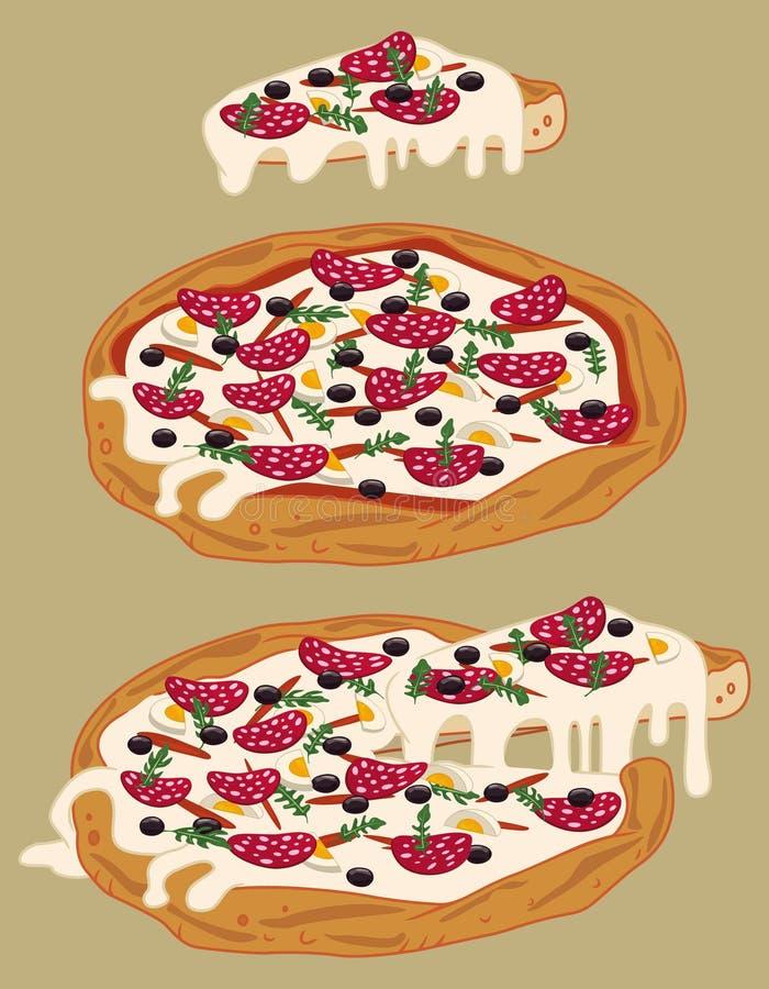 Italiaanse met de hand gemaakte pizza 3 royalty-vrije illustratie