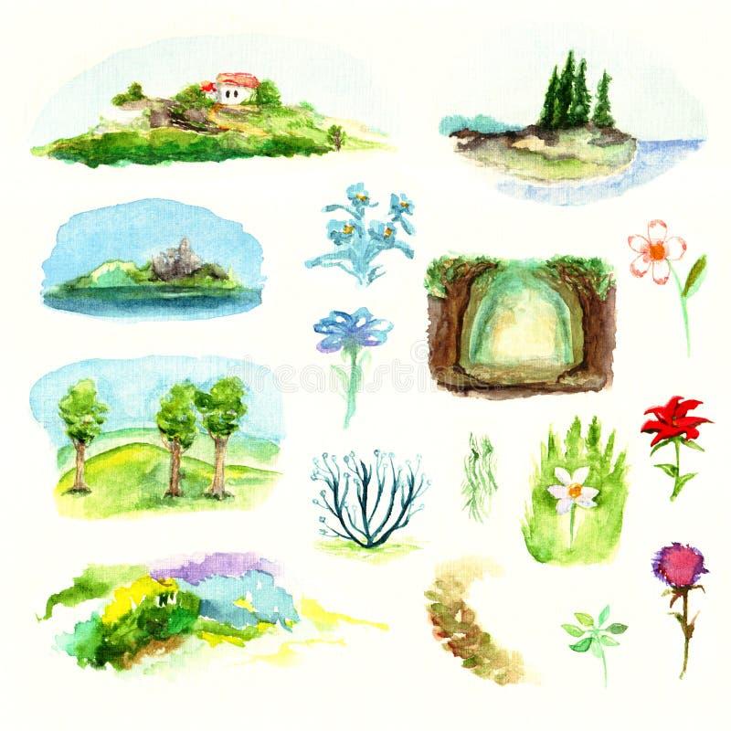 Italiaanse middag van miniaturen bloeit de eenvoudige landschappen aardbomen plant de bosweide van de overzeese die waterverf kus royalty-vrije illustratie