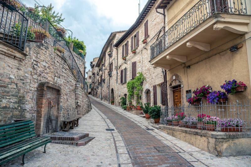 Italiaanse middeleeuwse steeg en gebouwen in het historische centrum van mooie stad van Spello, in Umbria Region, Italië royalty-vrije stock fotografie