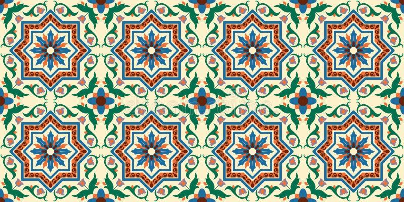 Italiaanse naadloze achtergrond, patroon met ornamenten, kleurrijk decor met mozaïek royalty-vrije illustratie