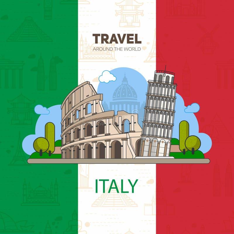 Italiaanse oriëntatiepunten, historische architectuur stock illustratie