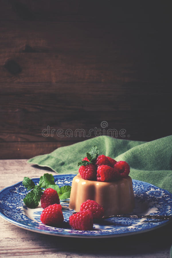 Italiaanse pannacotta van de dessertkoffie stock foto's