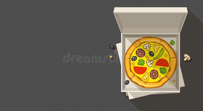 Italiaanse pizza in open doos royalty-vrije illustratie
