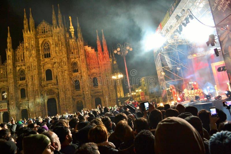 Italiaanse populaire rapper Caparezza zingt tijdens het overleg van het Nieuwjaar royalty-vrije stock foto's
