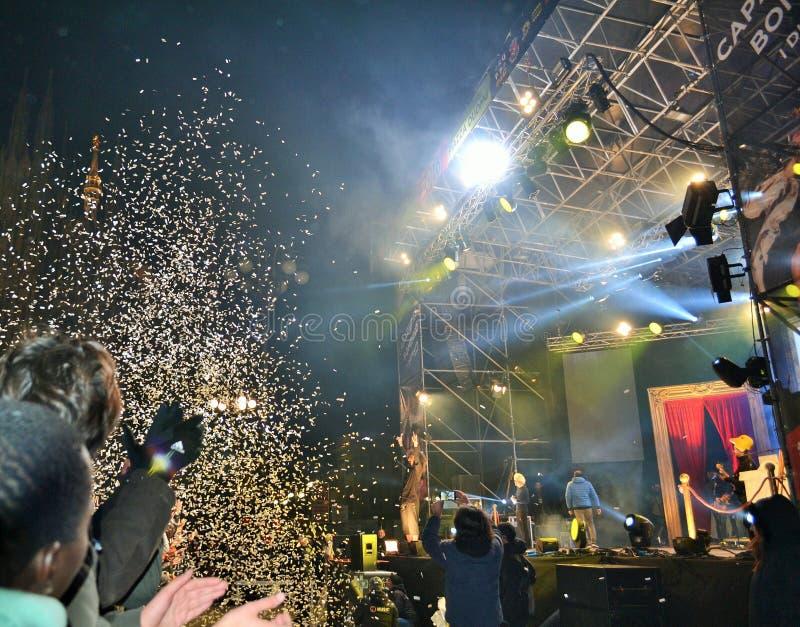 Italiaanse populaire rapper Caparezza zingt tijdens het overleg van het Nieuwjaar royalty-vrije stock afbeelding